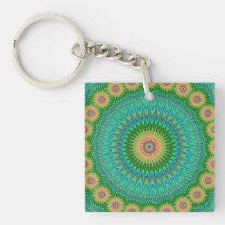 Hippie mandala Double-Sided square acrylic keychain