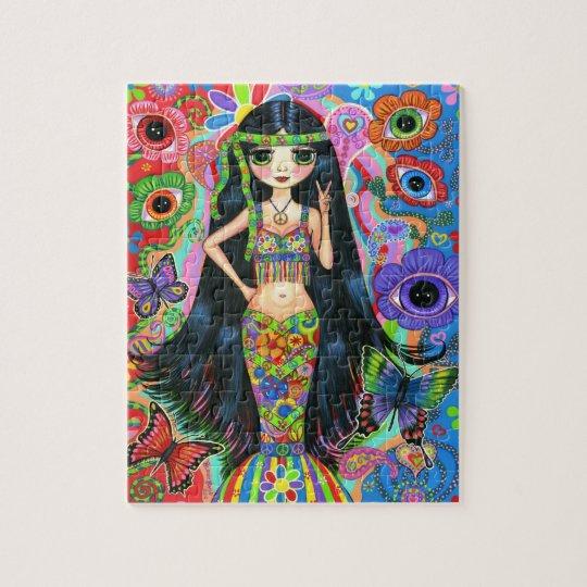 Hippie Mermaid Girl with Eye Flowers Puzzle