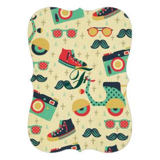 hippie multi vintage chic minable de couleur et de carton d'invitation  12,7 cm x 17,78 cm