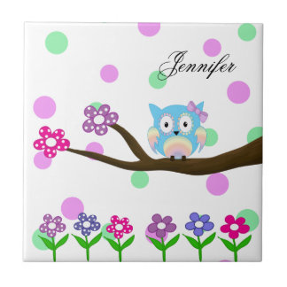 Hippie multicolored owl on tree and flowers tile