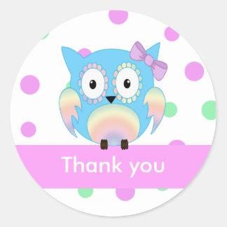Hippie owl multicolored thank you round sticker