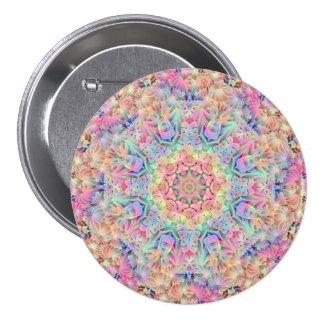 Hippie Pattern Buttons, square or round 3 Inch Round Button