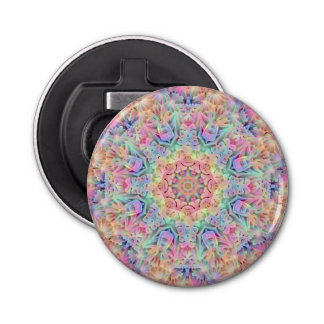 Hippie Pattern   Magnetic Round Bottle Opener