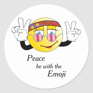 "Hippie ""Peace"" Emoji Classic Round Sticker"
