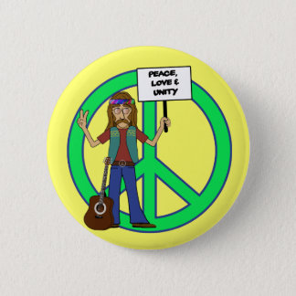 Hippie Peace Love and Unity 2 Inch Round Button