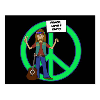 Hippie Peace Love and Unity Postcard