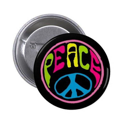 Hippie Peace Sign Pinback Button