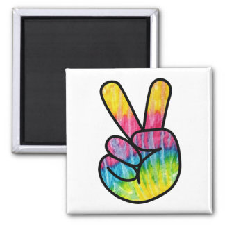 Hippie Peace Sign Button Magnet