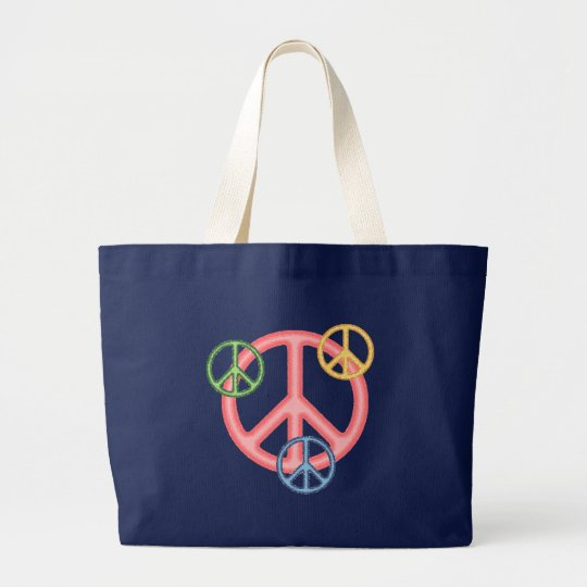 Hippie Peace Sign Large Tote Bag
