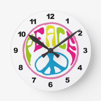 Hippie Peace Sign Round Clock
