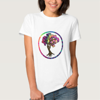 Hippie Peace Tree in Psychedelic Circle Tee Shirt