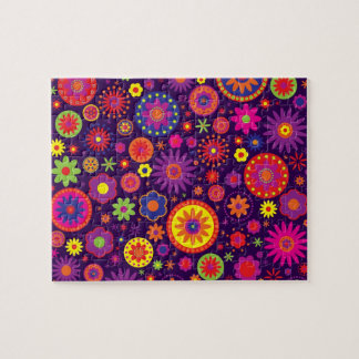 Hippie Purple Rainbow Flowers Jigsaw Puzzle