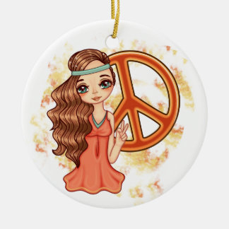 Hippie Rose Round Ceramic Ornament