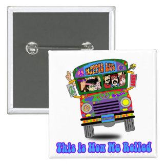Hippie School Bus 2 Inch Square Button