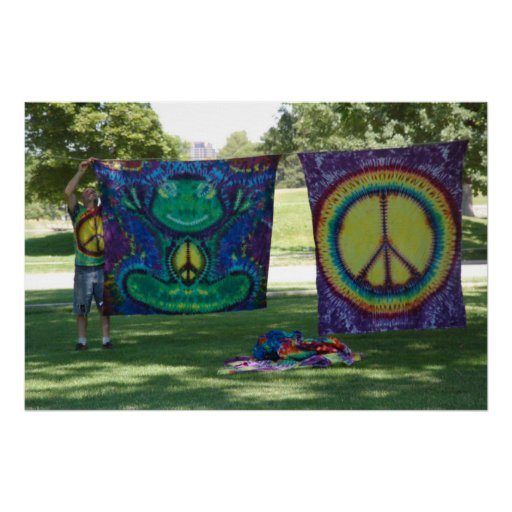 Hippie selling tie dye products in park canvas pic posters