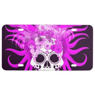 hippie skull,pink license plate