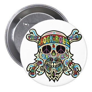 Hippie Skull Round Button