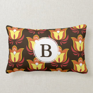Hippie Style Groovy 60s Flowers & Initial Letter Lumbar Pillow