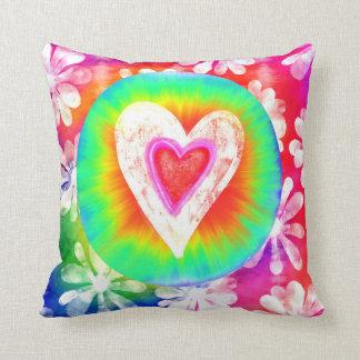 Hippie style tie dye Heart Decorative Pillow