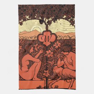 Hippie Sunrise Art Nouveau Monogrammed Kitchen Towel