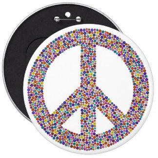 Hippie symbol 6 inch round button