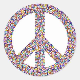 Hippie symbol round sticker