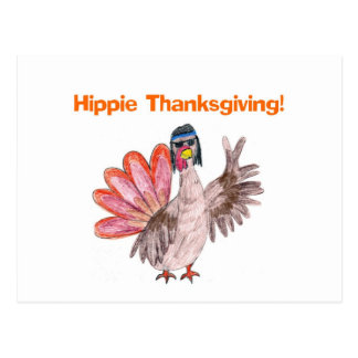 Hippie Thanksgiving turkey Postcard
