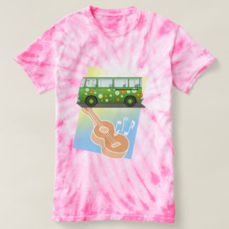 Hippie Tie Dye Green Van and Guitar Pink or Blue T-shirt