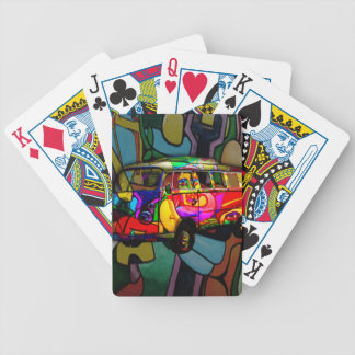 Hippie van bicycle playing cards