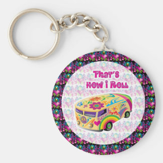 hippie van how i roll keychain