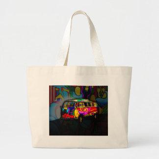 Hippie van large tote bag