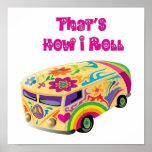 hippie van retro  how i roll poster