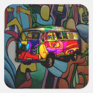Hippie van square sticker