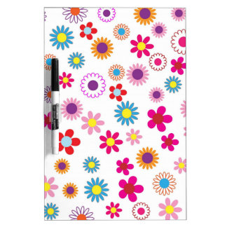 Hippie Vintage daisy flowers. red, purple, pink, g Dry Erase Board