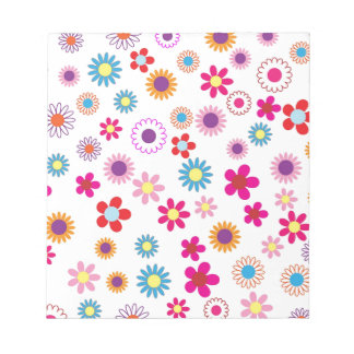 Hippie Vintage daisy flowers. red, purple, pink, g Notepad