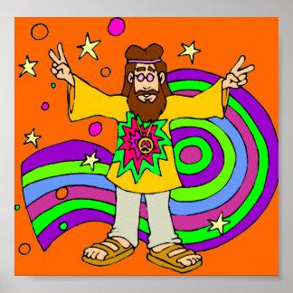 Hippie With Lond Haair on Orange Poster