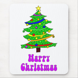 Hippie's Happy Christmas Tree Mouse Pad