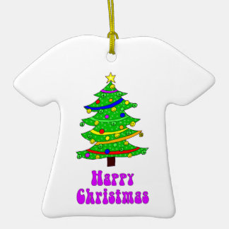 Hippie's Happy Christmas Tree Double-Sided T-Shirt Ceramic Christmas Ornament