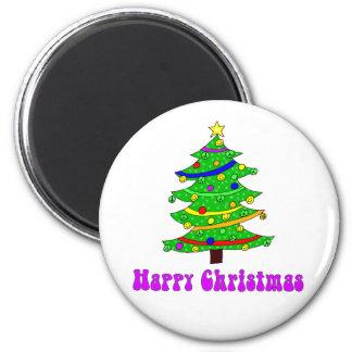 Hippie's Happy Christmas Tree Round Fridge Magnets