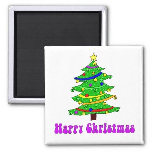 Hippie's Happy Christmas Tree Square Magnet