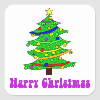 Hippie's Happy Christmas Tree Square Square Sticker
