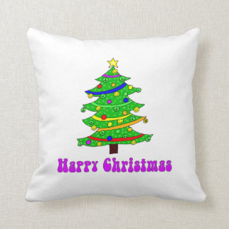 Hippie's Happy Christmas Tree Throw Pillow