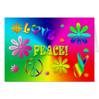 Hippie's Peace and Love Greeting - Wild Colors Card