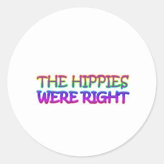 hippies round sticker
