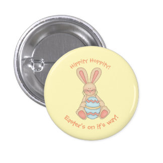 Hippity Hoppity Easter Bunny 1 Inch Round Button