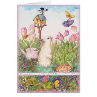 Hippity Hoppity Easter Bunny Birdhouse Card
