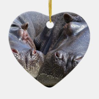 hippo-783 ceramic heart ornament