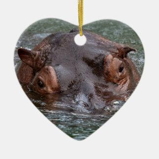 Hippo 8879 ceramic heart ornament