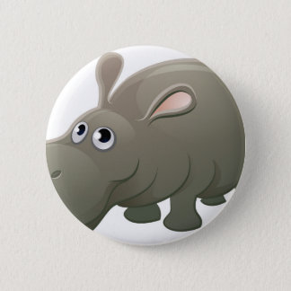Hippo Animal Cartoon Character 2 Inch Round Button