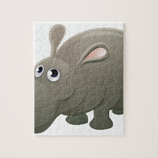 Hippo Animal Cartoon Character Jigsaw Puzzle